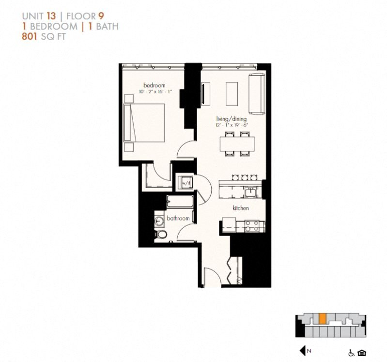 One Bedroom (801 sf) Floor Plan 8