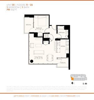 One Bedroom (791 sf)