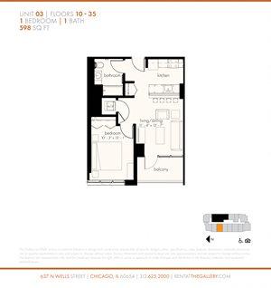 One Bedroom (598 sf)