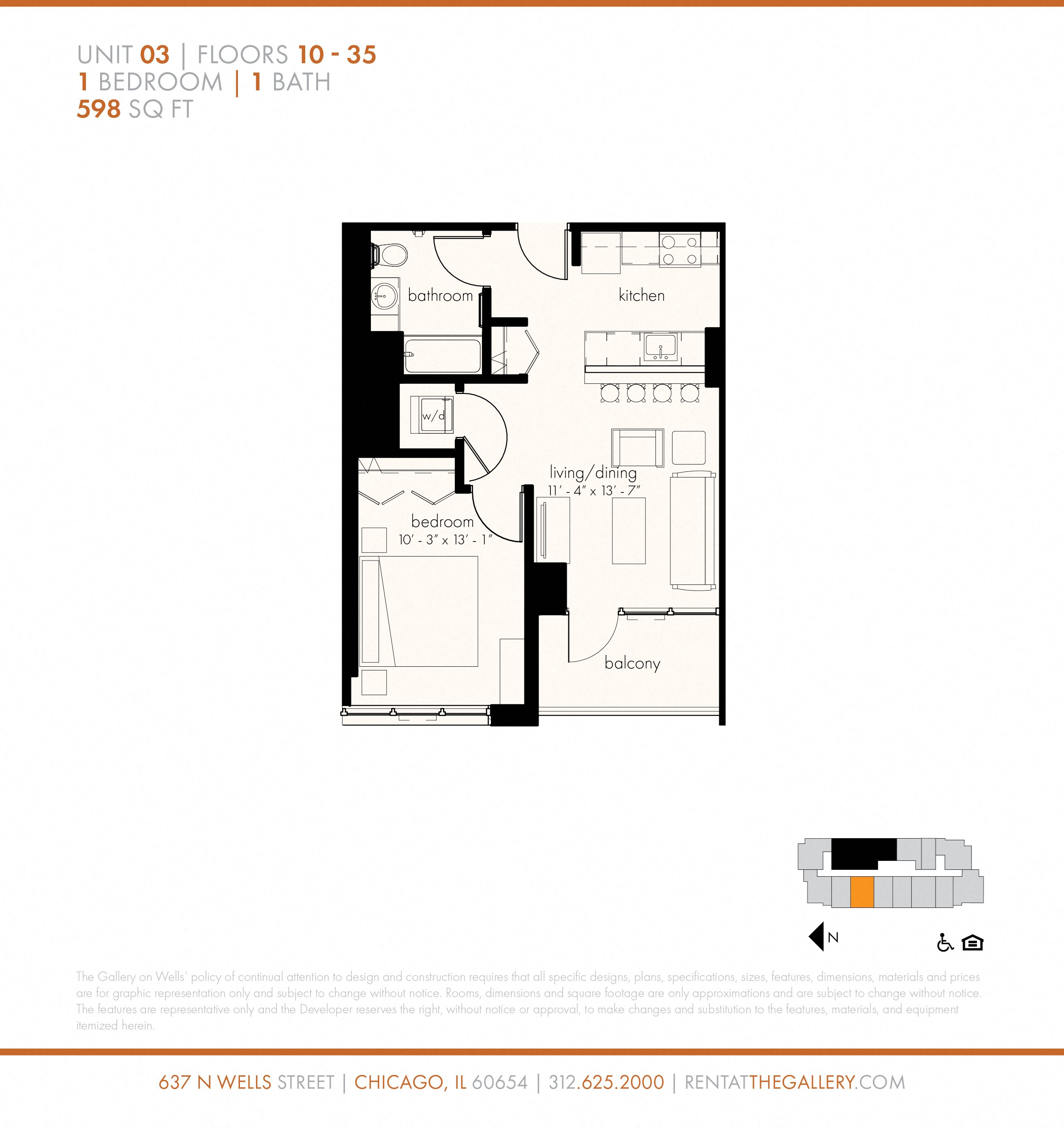 One Bedroom (598 sf) Floor Plan 5