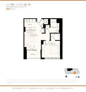 One Bedroom (764 sf)