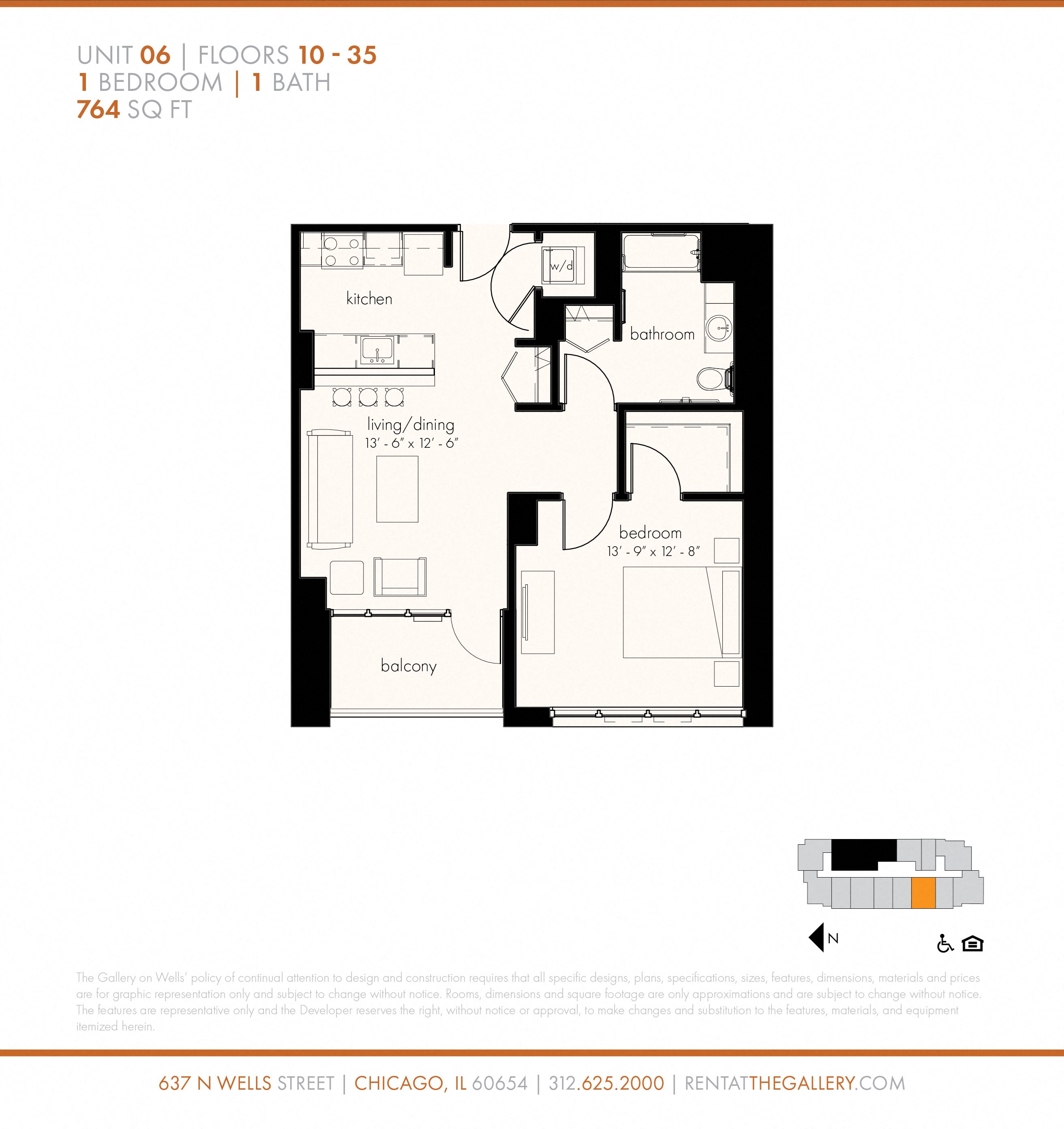 One Bedroom (764 sf) Floor Plan 7