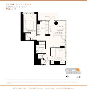 Two Bedroom (963 sf)