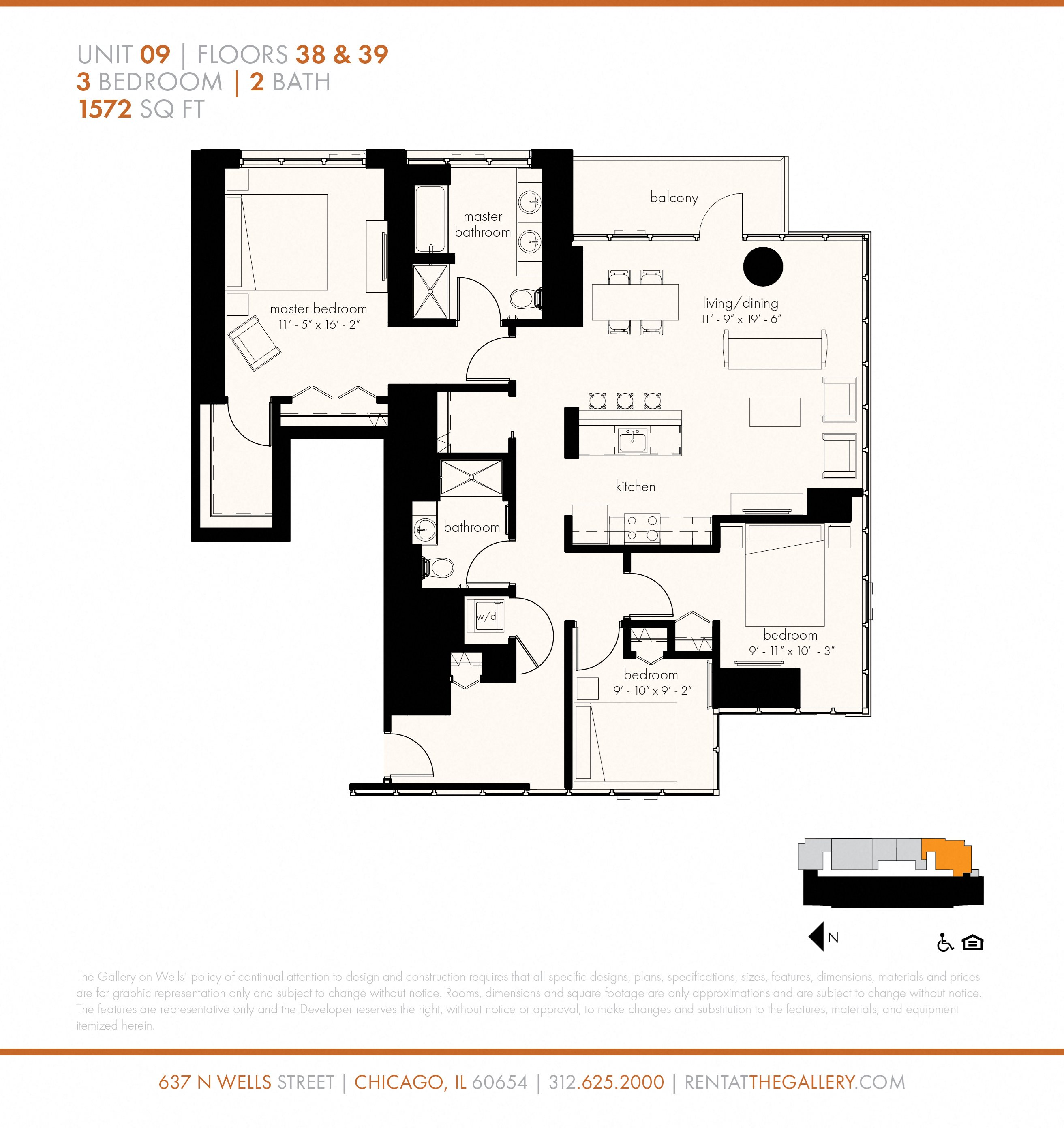 Three Bedroom (1572 sf) Floor Plan 28