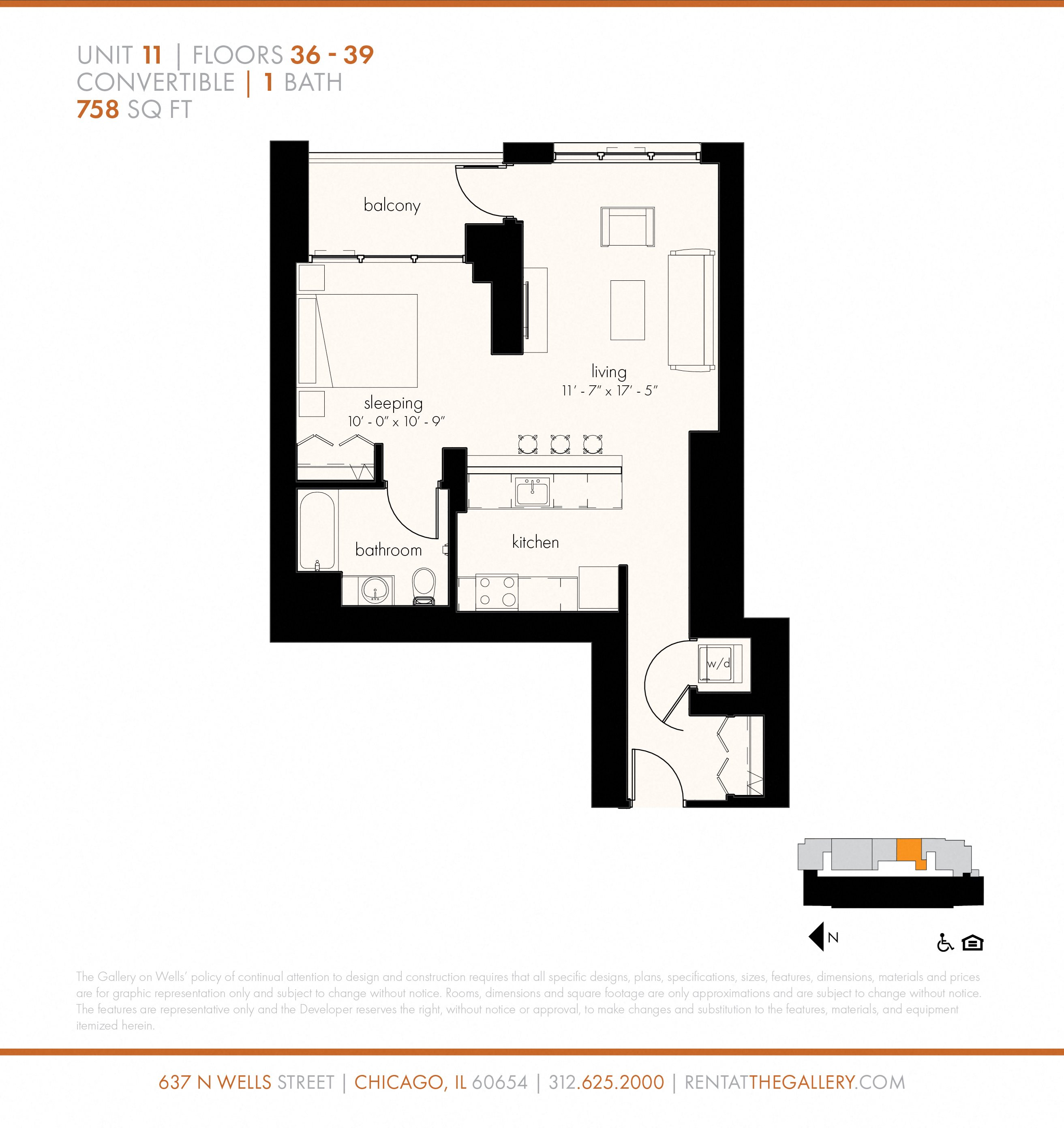 Junior One Bedroom (758 sf) Floor Plan 4