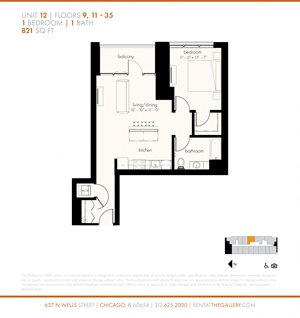 One Bedroom (821 sf)