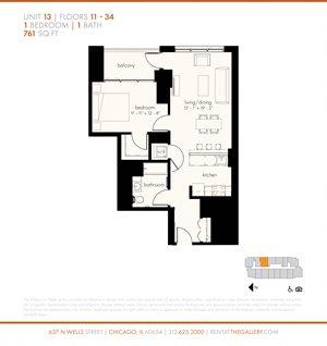 One Bedroom (761 sf)