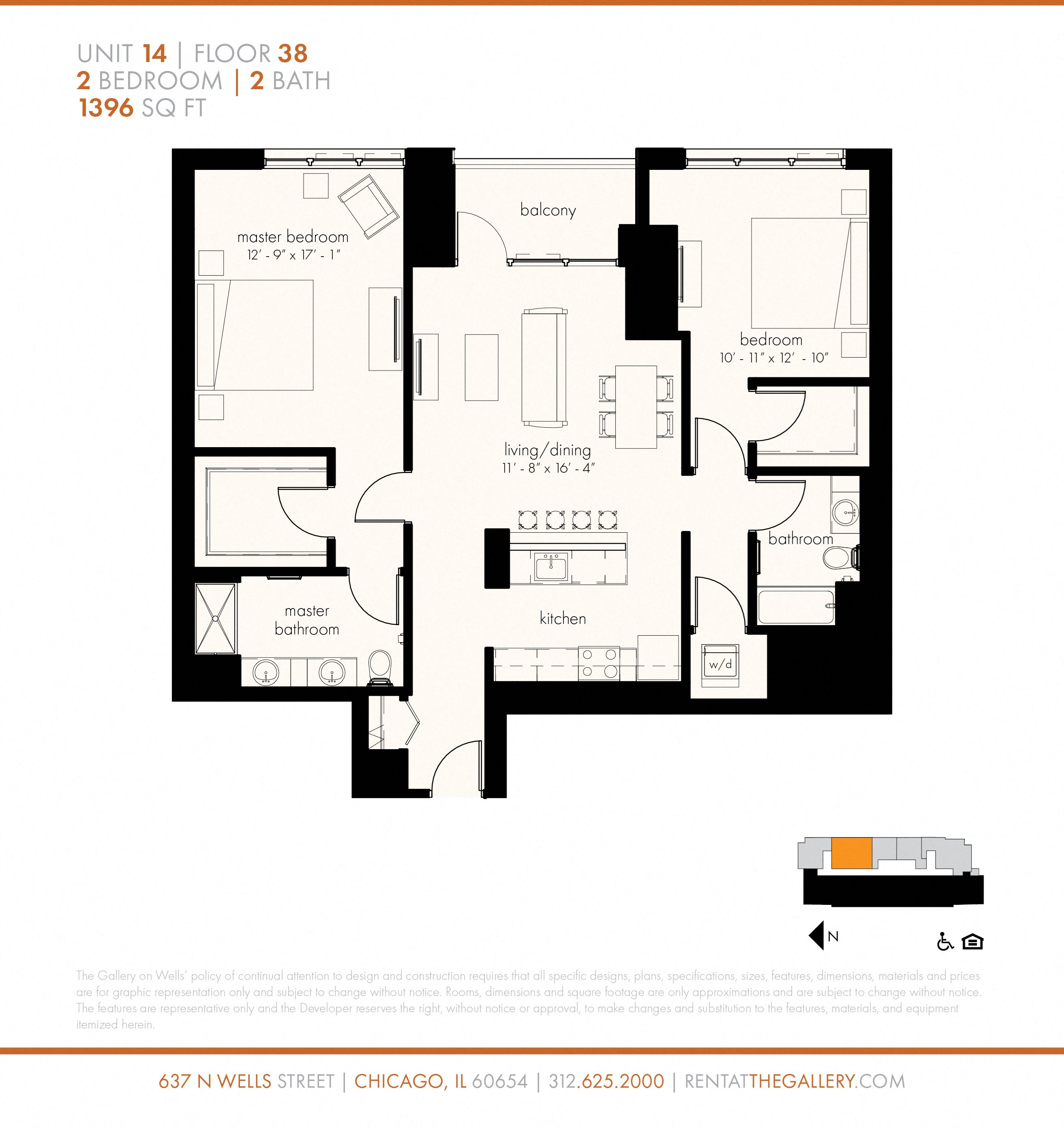 Two Bedroom (1396 sf) Floor Plan 26