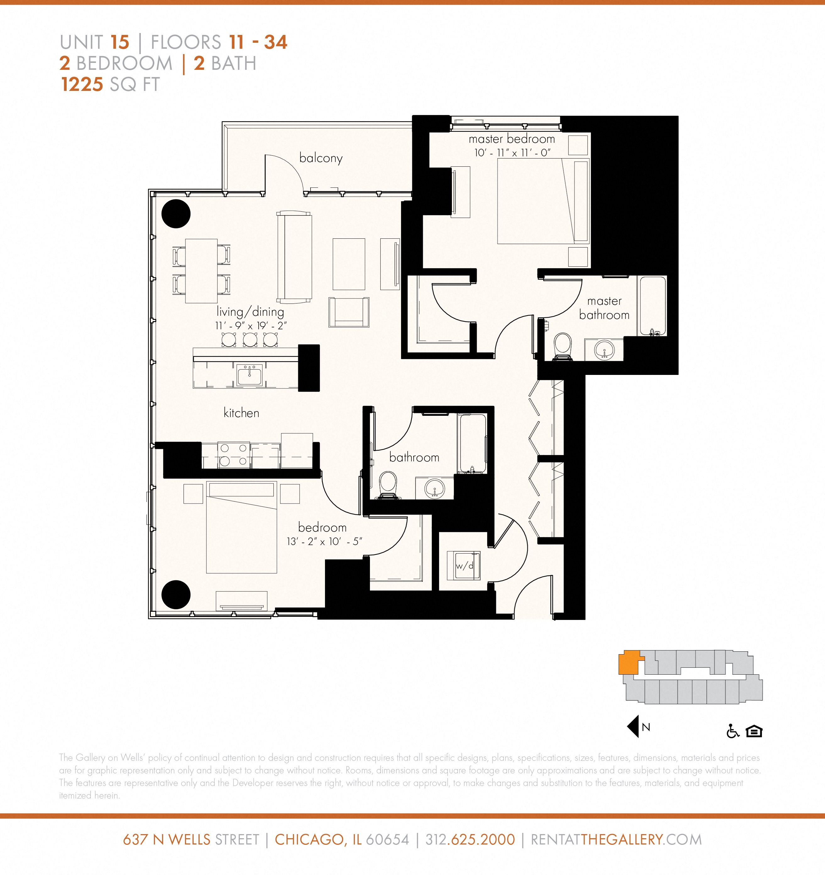 Two Bedroom (1225 sf) Floor Plan 20