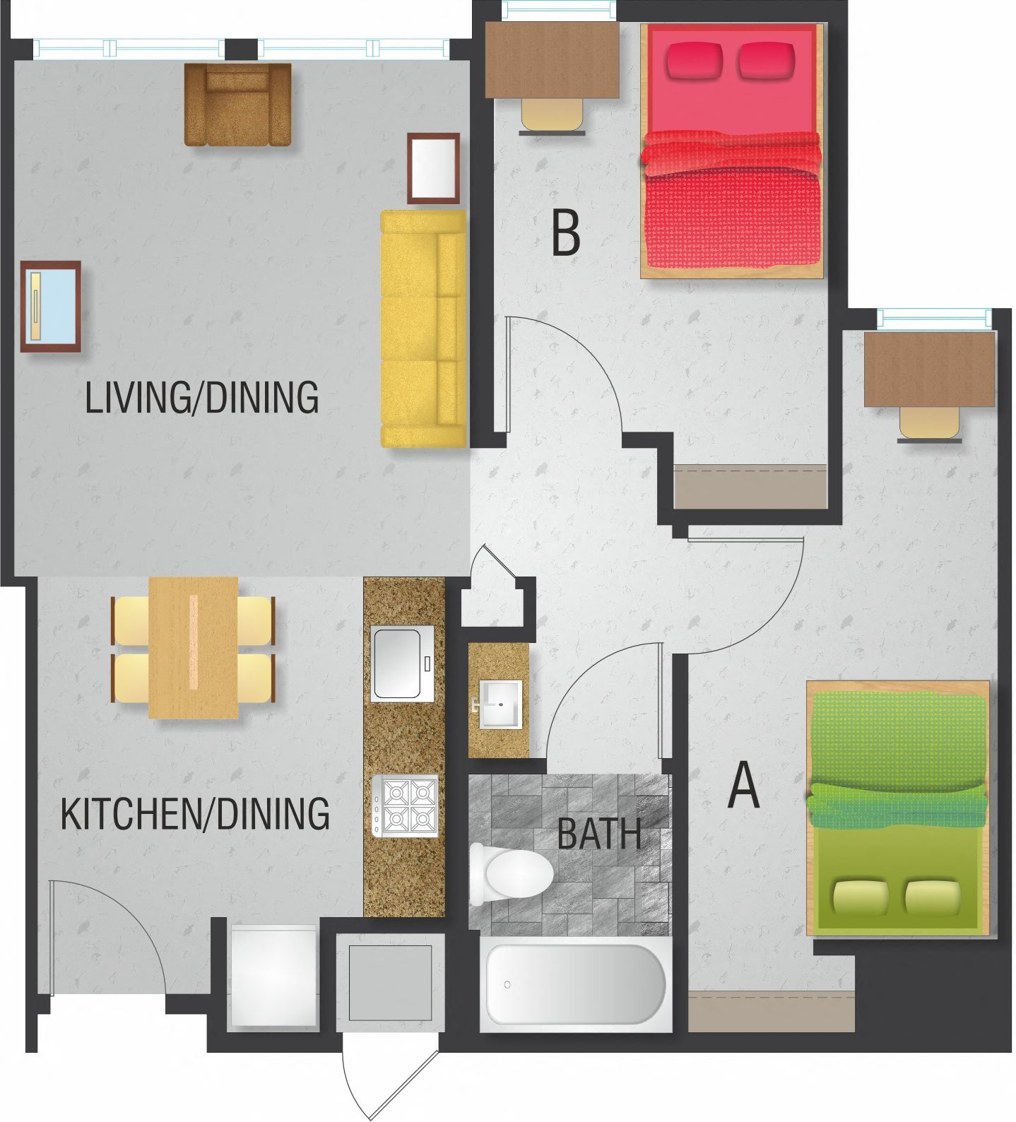 2 Bedroom  1 Bath Floor Plan 1. Floor Plans of The Enclave at 8700 in College Park  MD