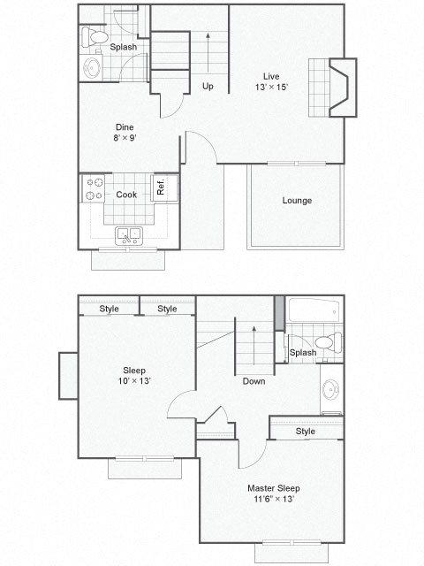 The Commons_Federal Way WA_Floor Plan_Two Bedroom One and a Half Bathroom Townhome Large