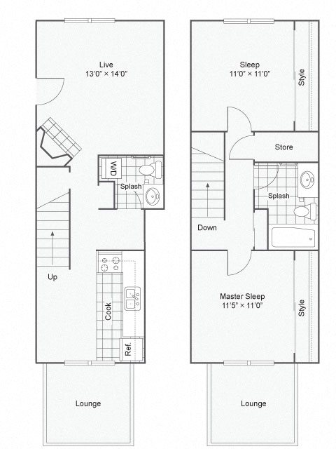 The Commons_Federal Way WA_Floor Plan_Two Bedroom One and a Half Bathroom Townhome