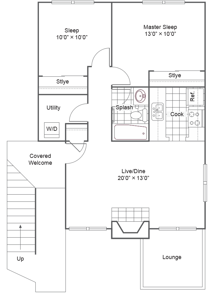 The Commons_Federal Way WA_Floor Plan_Two Bedroom Two Bathroom