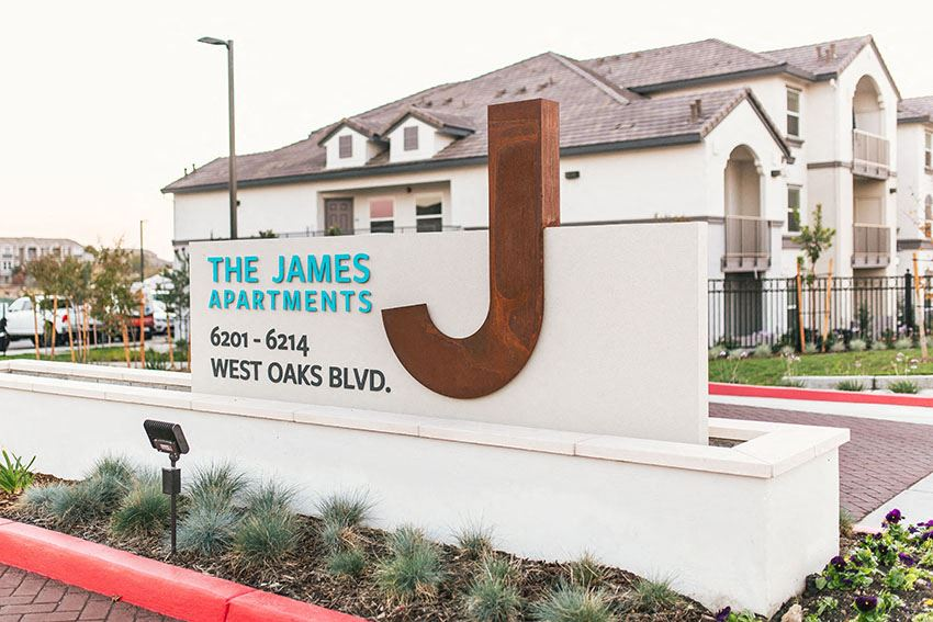 Monument Sign l The James Apartments in Rocklin CA