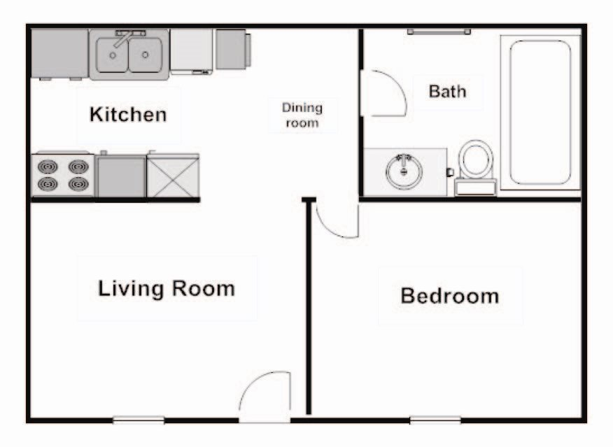 1 Bedroom 1 Bath Floor Plan 8