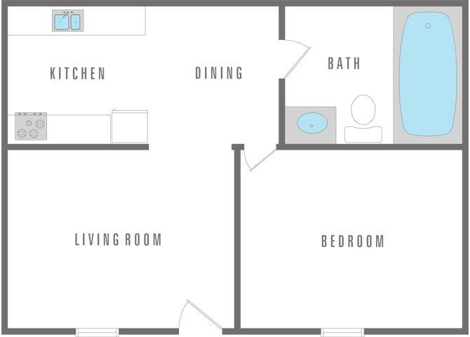 1 Bedroom 1 Bath Floor Plan 8