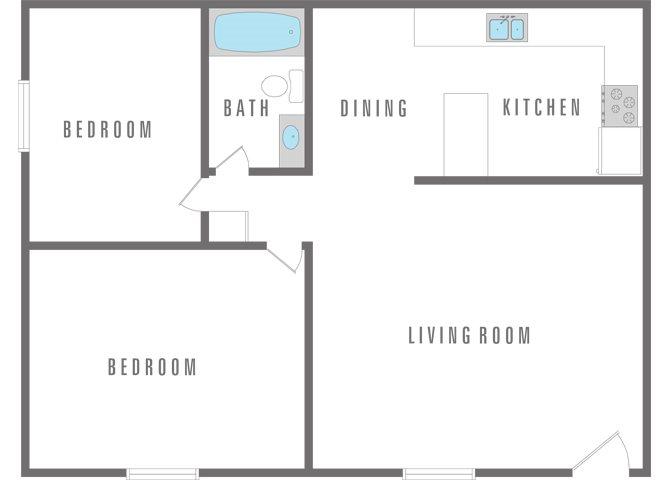 2 Bedroom 1 Bath Floor Plan 9