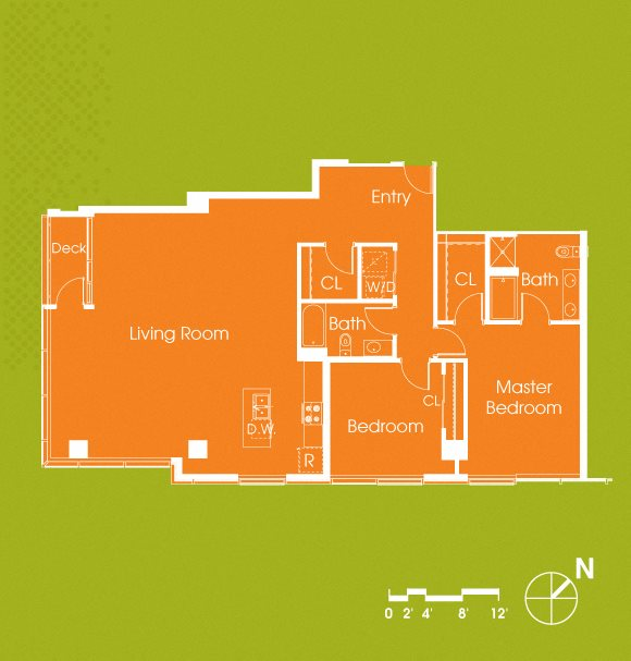 2 Bedroom 2 Bathroom Penthouse 1754 Floor Plan 13