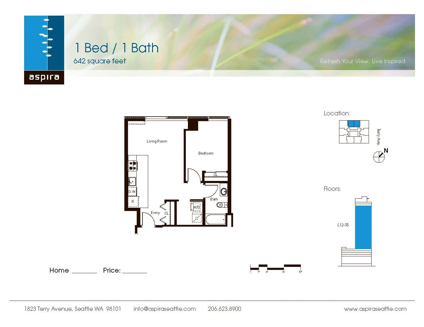 1 Bedroom 1 Bathroom 642 Floor Plan 12