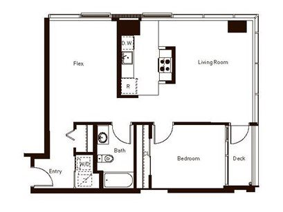 One Bedroom Plus Flex Floor Plan 15