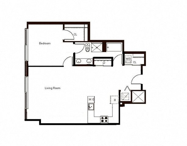 1 Bed 1 Bath Penthouse 972 Floorplan at Aspira Apartments