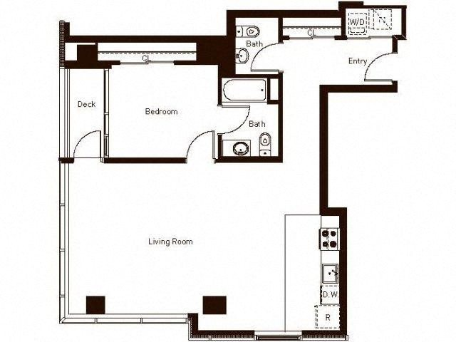 1 Bedroom 1.5 Ba 1034 Floorplan at Aspira Apartments