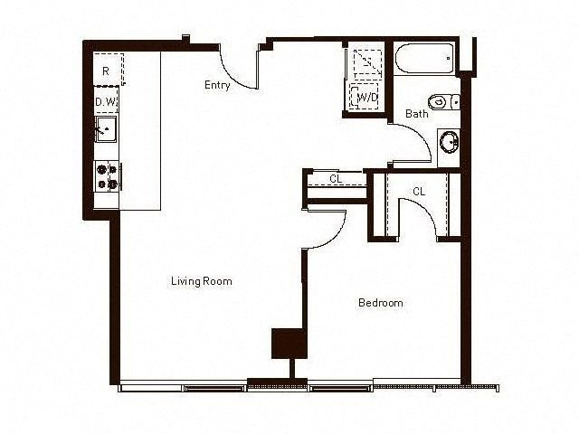 1 Bedroom 1 Bath 762 Floorplan at Aspira Apartments