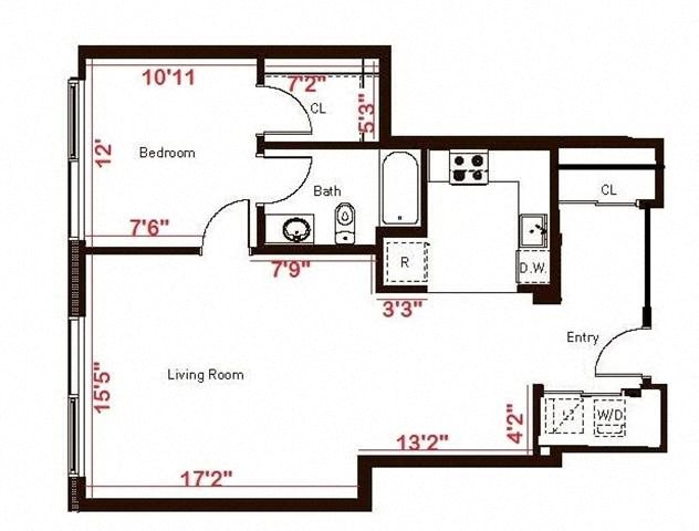 1 Bedroom 1 Bath Flex 890 Floorplan at Aspira Apartments