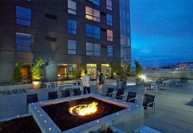 Roof top deck with firepit