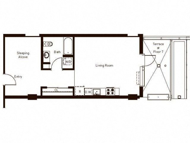 Open 1 Bedroom 733 Floorplan at Aspira Apartments