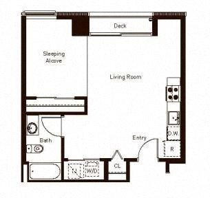 Studio 614 Floorplan at Aspira Apartments