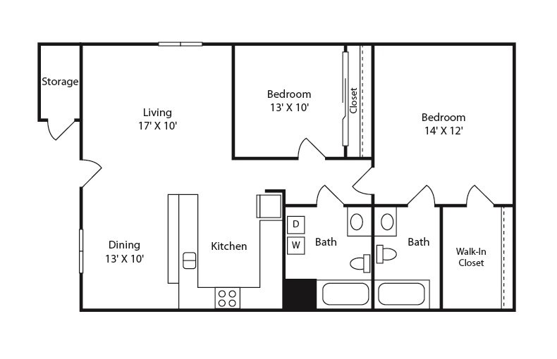 2 bed 2 bath B Floor Plan 3