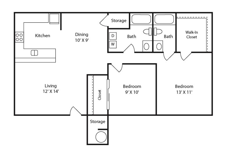 2 bed 2 bath A Floor Plan 2