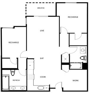 2D - TWO BED, TWO BATH + DEN