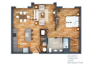 the Atlantic Floorplan at West Side Lofts, Red Bank NJ 07701