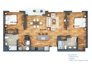 Broadway Floorplan at West Side Lofts, Red Bank NJ 07701