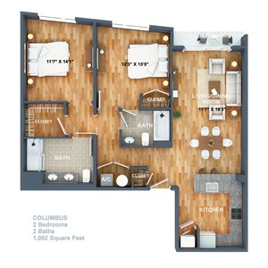 Columbus Floorplan at West Side Lofts, Red Bank NJ 07701