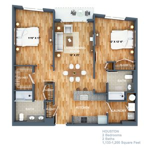 Houston Floorplan at West Side Lofts, Red Bank NJ 07701