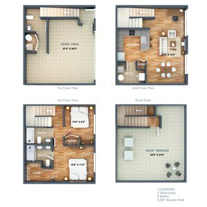 Live/Work Floorplan at West Side Lofts, Red Bank NJ 07701