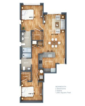 Monmouth Floorplan at West Side Lofts, Red Bank NJ 07701