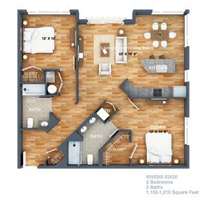 Rivers Edge Floorplan at West Side Lofts, Red Bank NJ 07701