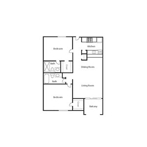 The Icon_Phoenix AZ_Floor Plan_ 2Bdrm Bungalow_Two Bedroom Two Bathroom
