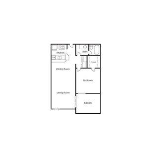 The Icon_Phoenix AZ_Floor Plan_Large Bungalow_One Bedroom One Bathroom