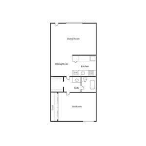 The Icon_Phoenix AZ_Floor Plan_Small Bungalow_One Bedroom One Bathroom