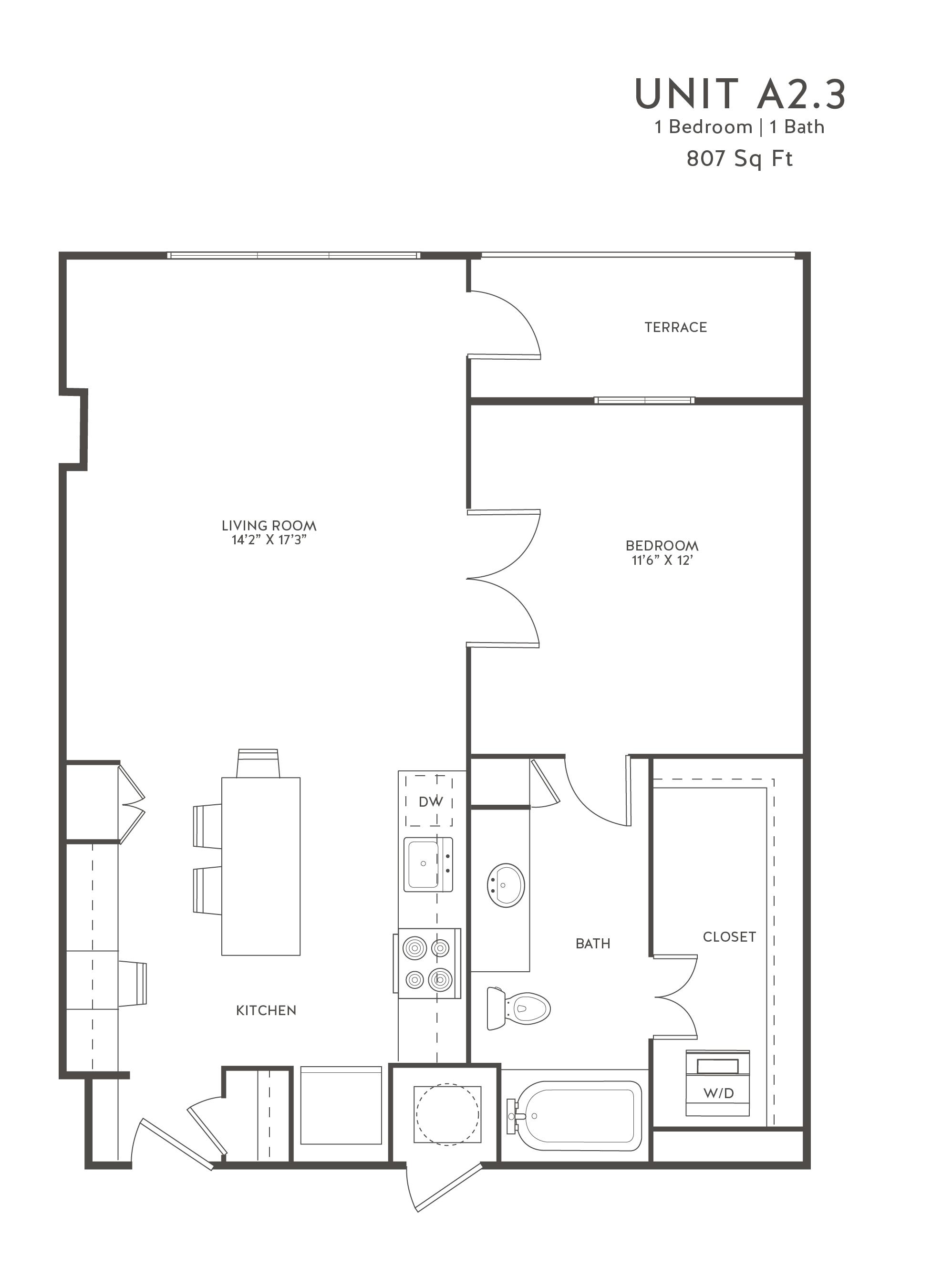 Floorpan at The Taylor Apartments, 3100 Carlisle Street, TX