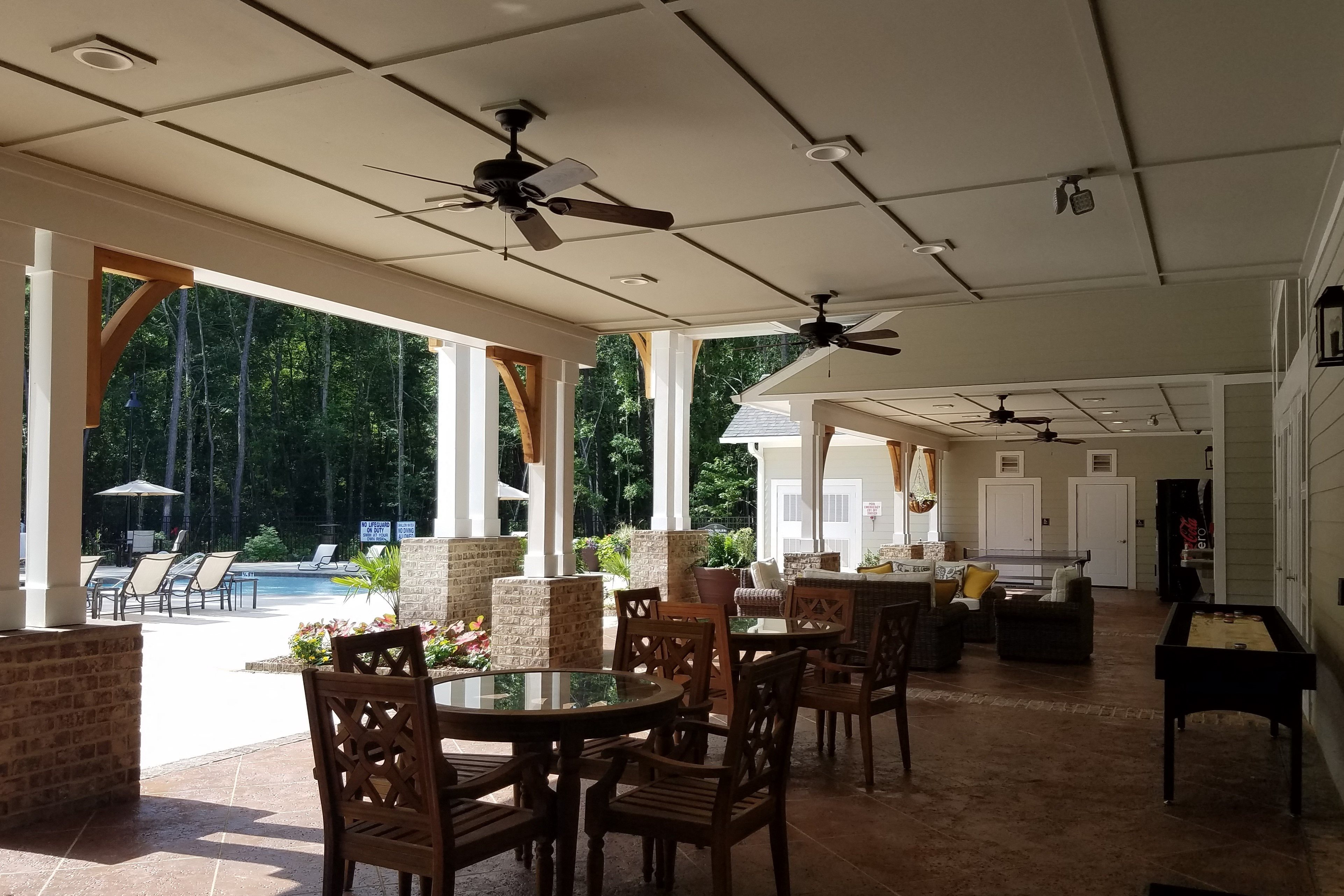 Poolside Entertainment Area with Outdoor Kitchen