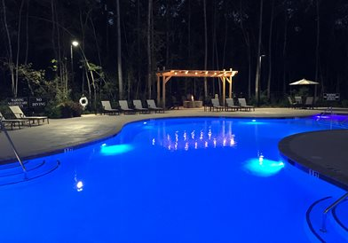Resort Style Salt Water Pool WIth Fire Pit Area