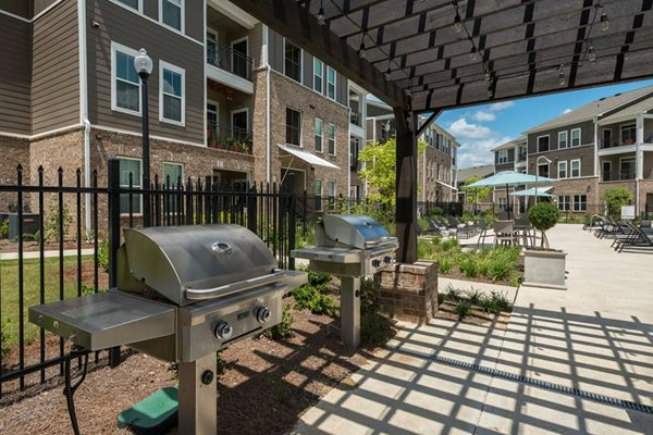 Shaded BBQ Area at The Village at Apison Pike, apartments in Ooltewah