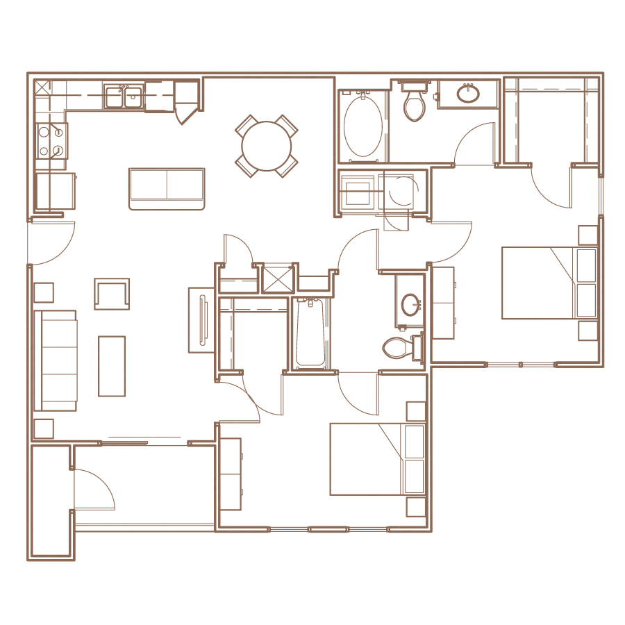 2 Bedroom Floorplan Layout at The Village at Apison Pike, Ooltewah, Tennessee