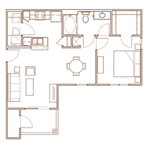 1 bedroom Floorplan Layout at The Village at Apison Pike in Ooltewah